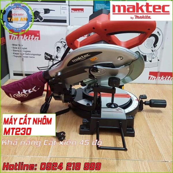 Khả năng cắt xiên máy cắt nhôm Maktec MT230