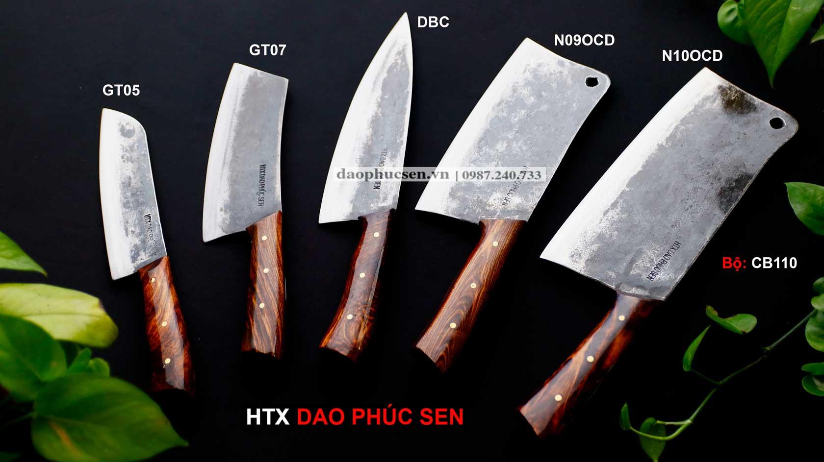 Bộ dao bếp, dao nhíp, dao phúc sen, dao phúc sen cao bằng, htx dao phúc sen