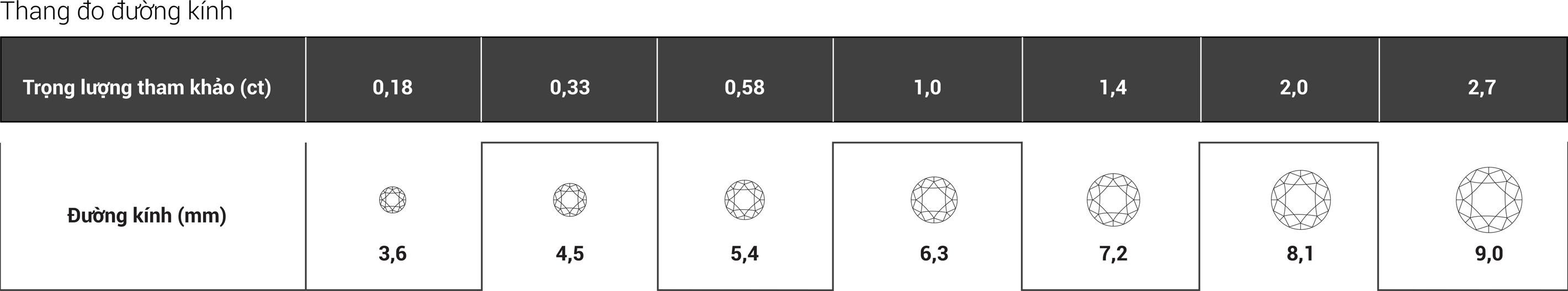 Tiêu chí 5: Kích cỡ kim cương (Carat Weight/Measurements)