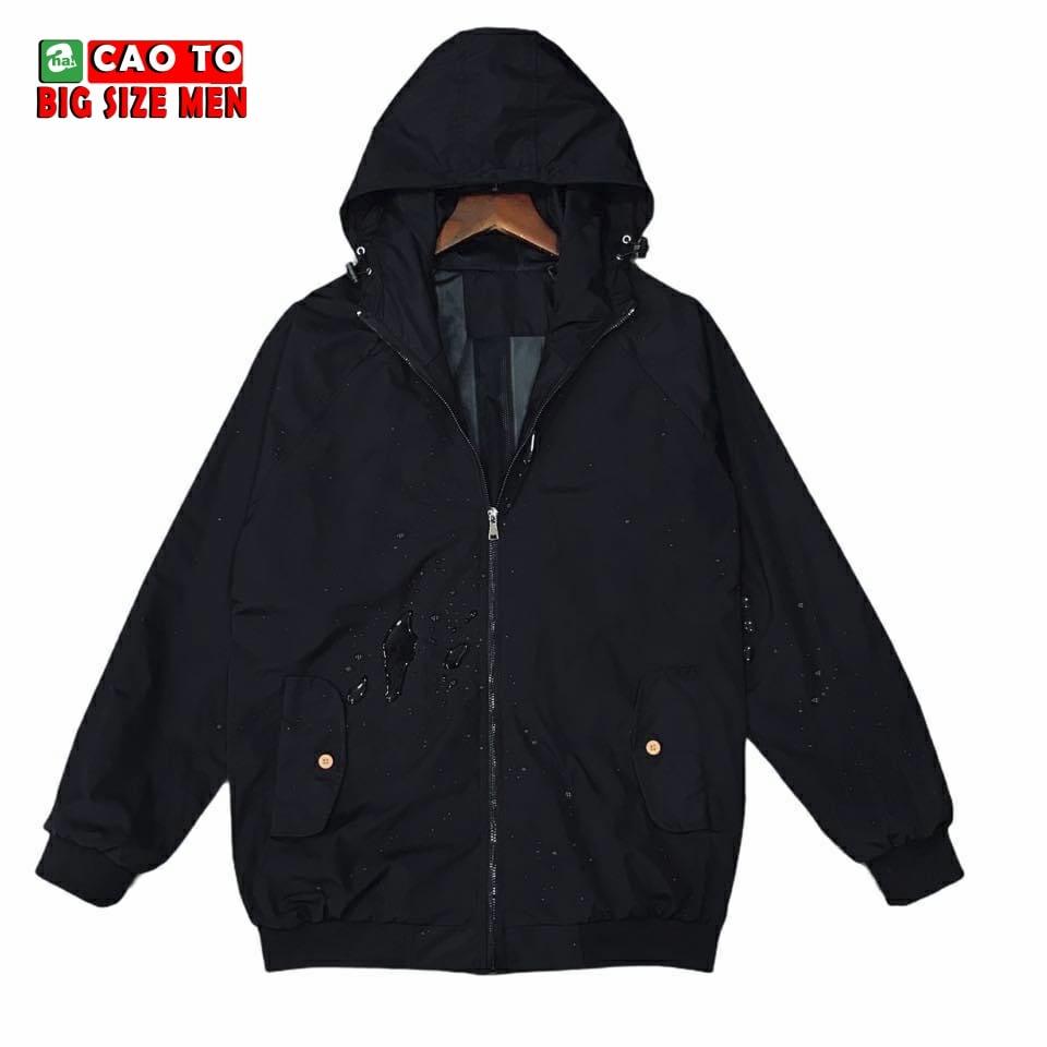 Áo khoác đen big size có nón 2xl 3xl 4xl 5xl 6xl