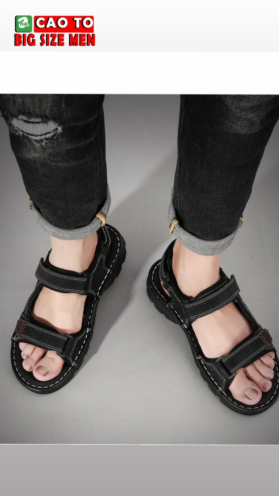 giày sandal nam big size đen 45 46 47 48 49