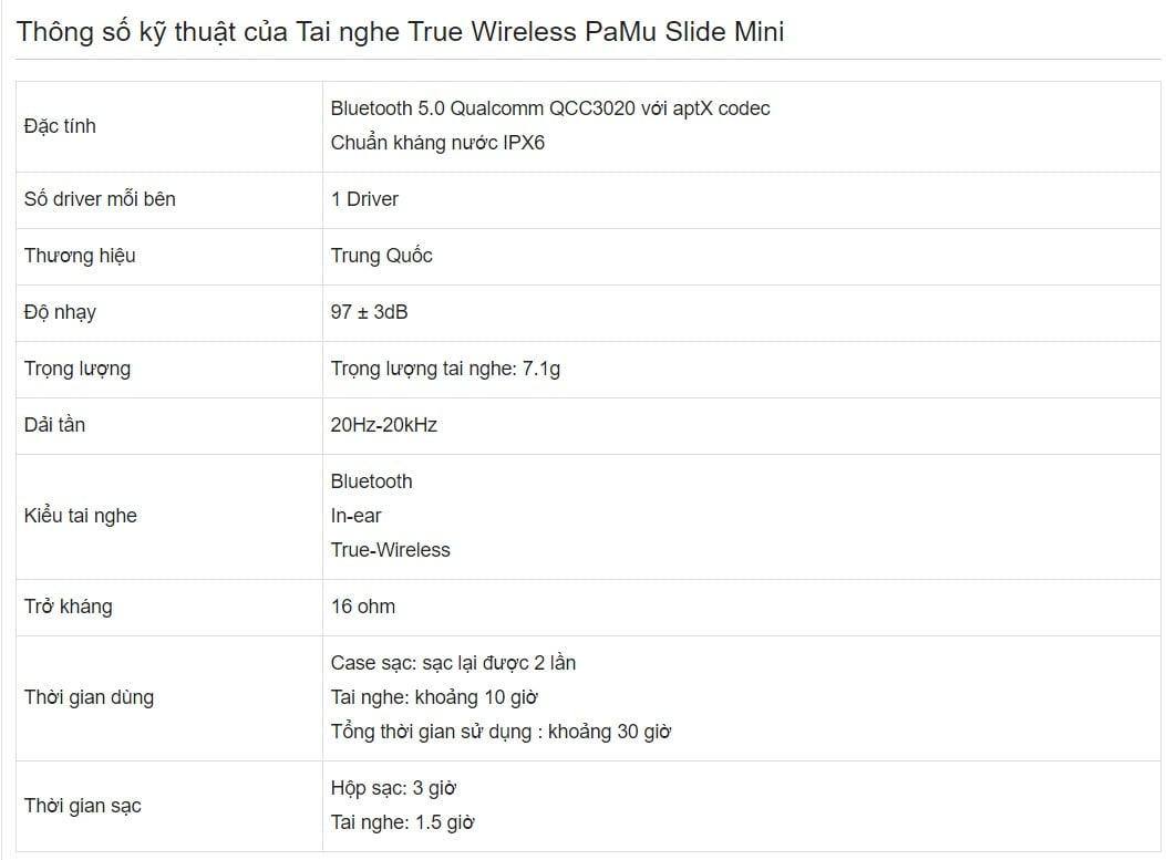 Tai nghe True wireless Pamu Slide Mini