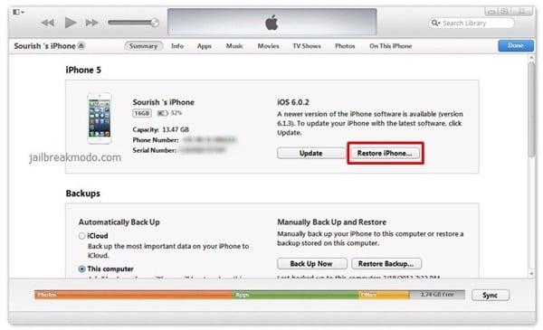 Restore iPhone bằng iTunes