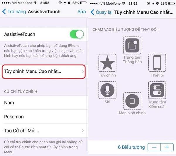 Nút Home ảo trên iPhone với khả năng hiệu chỉnh menu