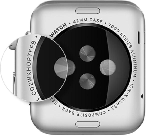 Kiểm tra serial Apple Watch ở mặt lưng đồng hồ