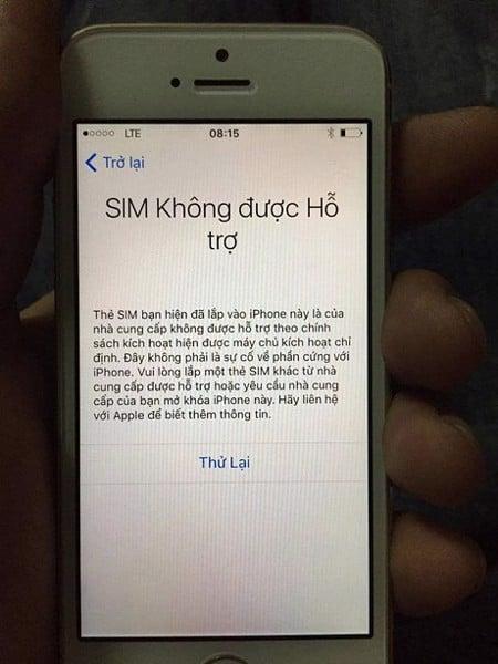iPhone 6 Lock không nhận sim ghép