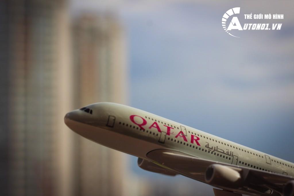MÔ HÌNH MÁY BAY QATAR A380 KHÔNG BÁNH 18CM EVERFLY 6274