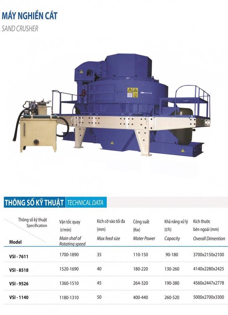 máy nghiền cát VSI nhập khẩu chính hãng giá tốt