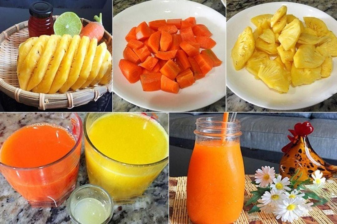 Các bước thực hiện nước ép thơm cà rốt