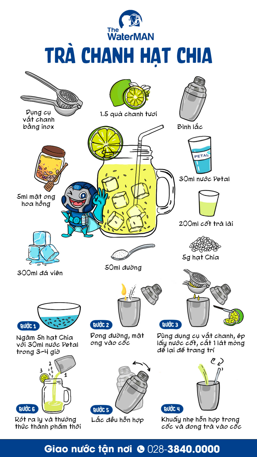 Chi tiết hóa công thức làm trà chanh hạt chia