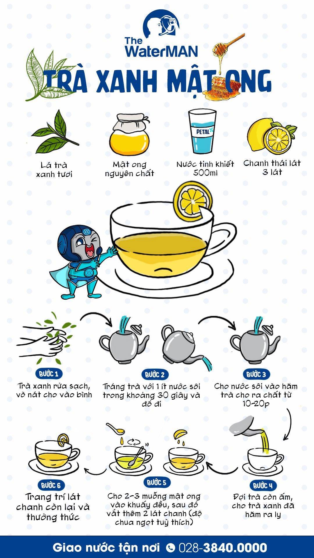 Công thức trà xanh mật ong