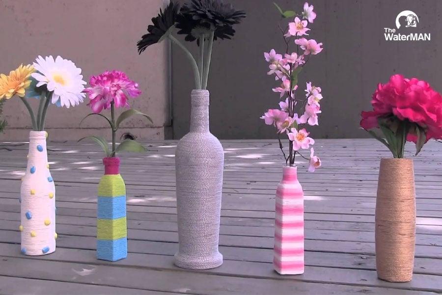 Lọ hoa làm bằng chai nhựa an toàn tuyệt đối khi gia đình bạn có con nhỏ