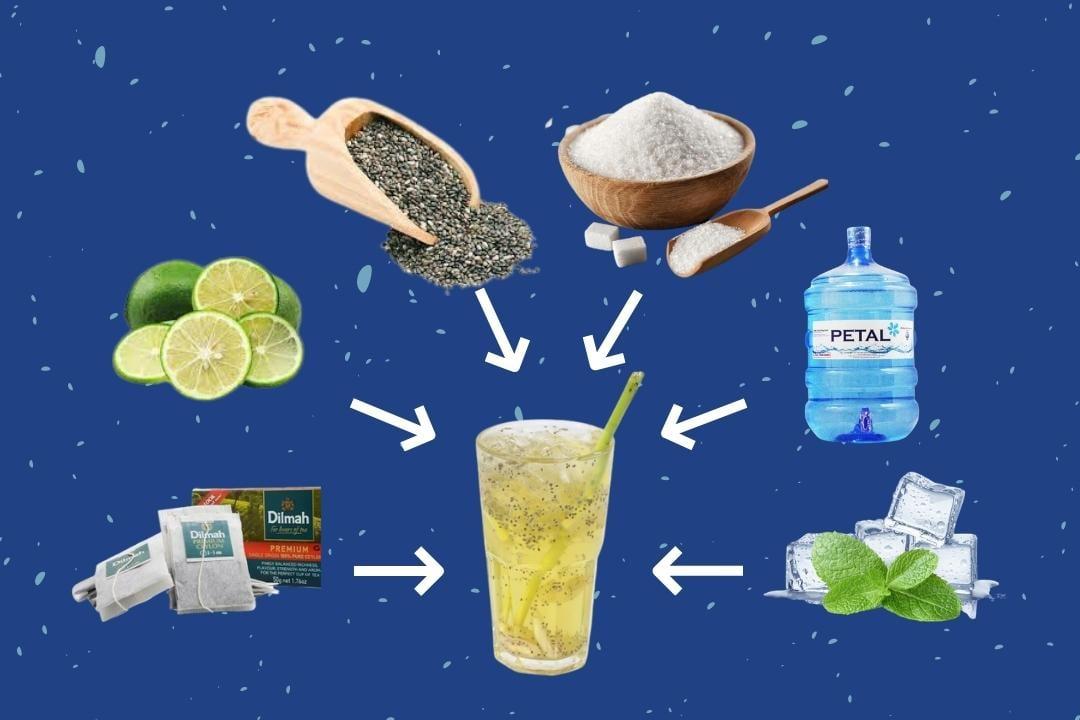 Các nguyên liệu cần có để làm trà chanh hạt chia