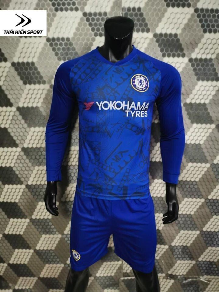 QA bóng đá tay dài Chelsea xanh