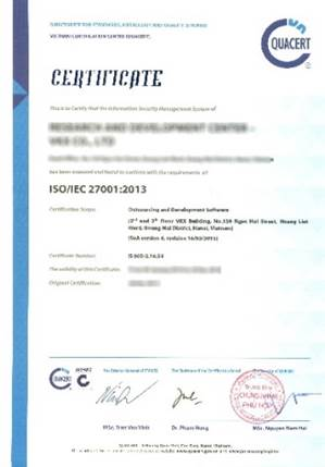 Chứng chỉ ISO 27001:2013
