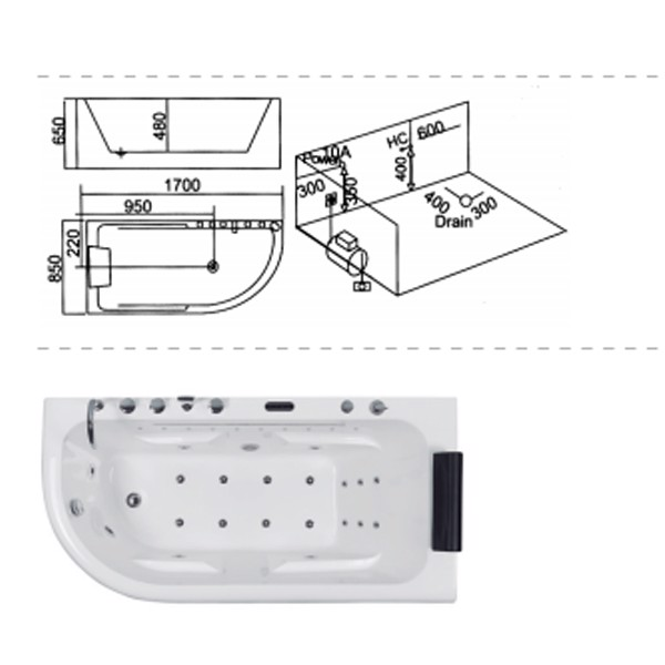 Bồn tắm massage đèn B-2251 (L/R)