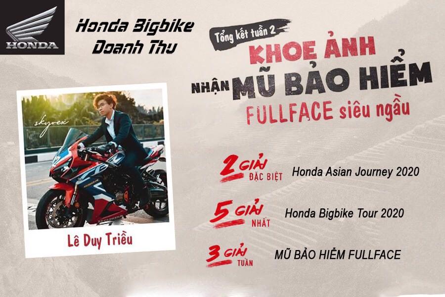 Tổng hết tuần 2 khoe ảnh nhận mũ bảo hiểm fullface siêu ngầu Honda Bigbike Doanh Thu