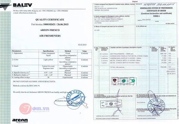 giấy chứng nhận sản phẩm nước hoa ô tô areon