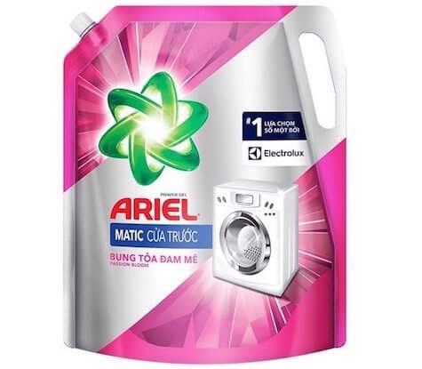 nước giặt cho máy giặt cửa ngang ariel bung toả đam mê