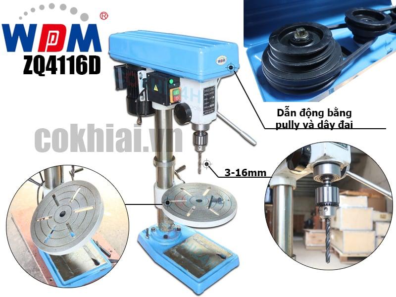 ZQ4116D máy khoan bàn giá rẻ chạy dây đai hiệu WDDM