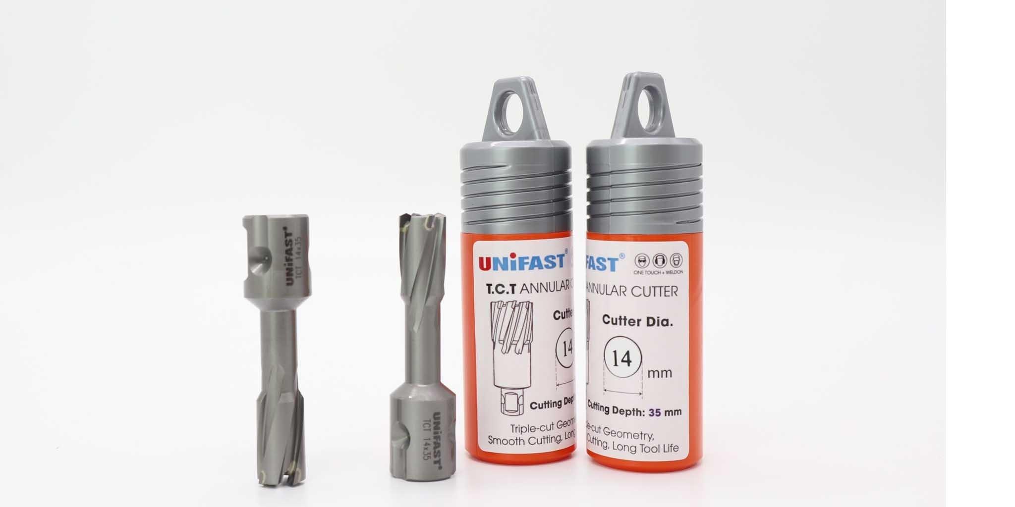 Mũi khoan từ hợp kim phi 14 khoét thép dày 35mm thương hiệu Unifast