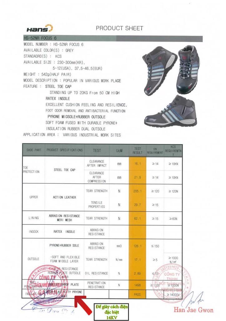 CCCL Giày Cách Điện Hàn Quốc HS-52NR 15KV