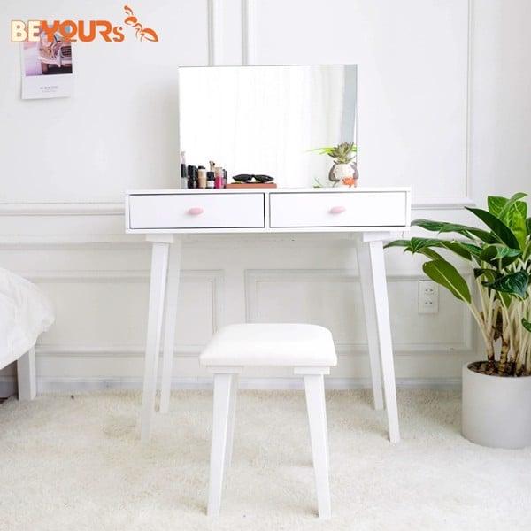 Ngoài màu trắng xanh, khách hàng còn có thể chọn bàn trang điểm B Charming Dressing Table full trắng