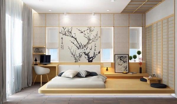 Sàn nhà lát gỗ hình đa giác giúp tạo điểm nhấn cho phòng ngủ màu trắng