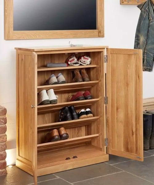 Mẫu tủ giày thông minh gỗ tự nhiên