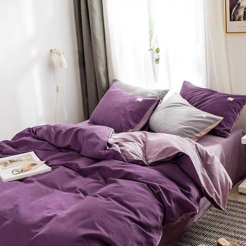 Bộ gia giường cotton màu tím