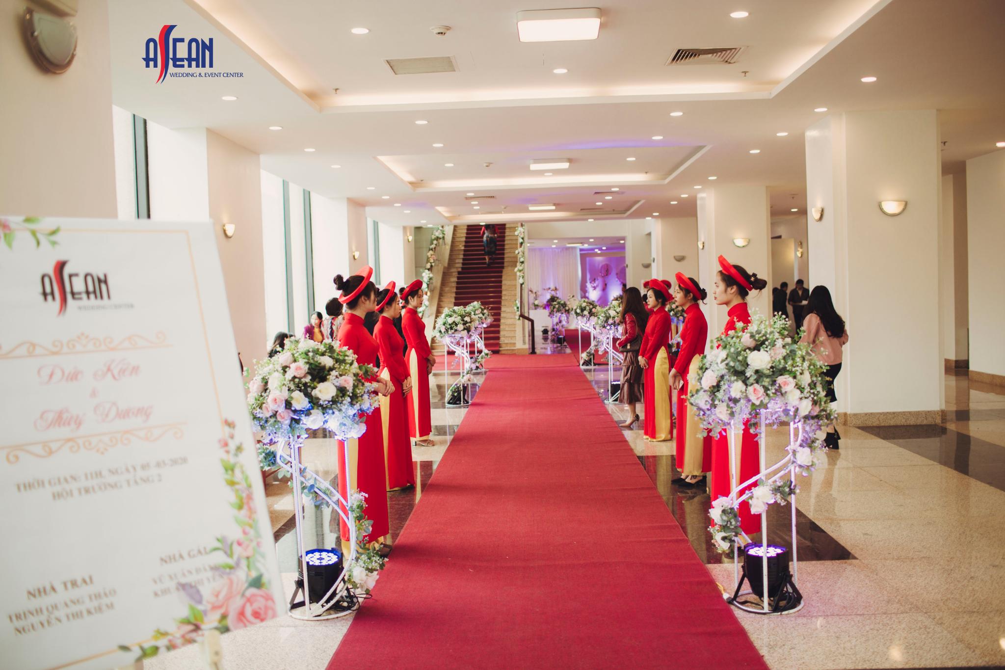 Sảnh đón khách tại trung tâm tiệc cưới Asean Nhà khách Bộ Quốc Phòng 266 Thụy Khuê