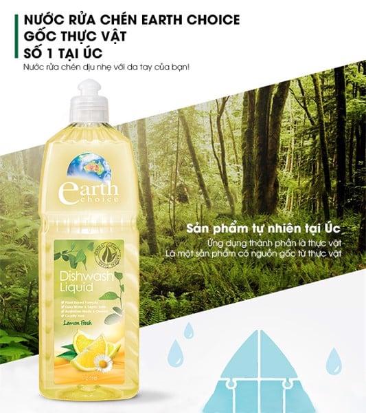 Nước rửa chén gốc thực vật Earth Choice 1L - Hương chanh