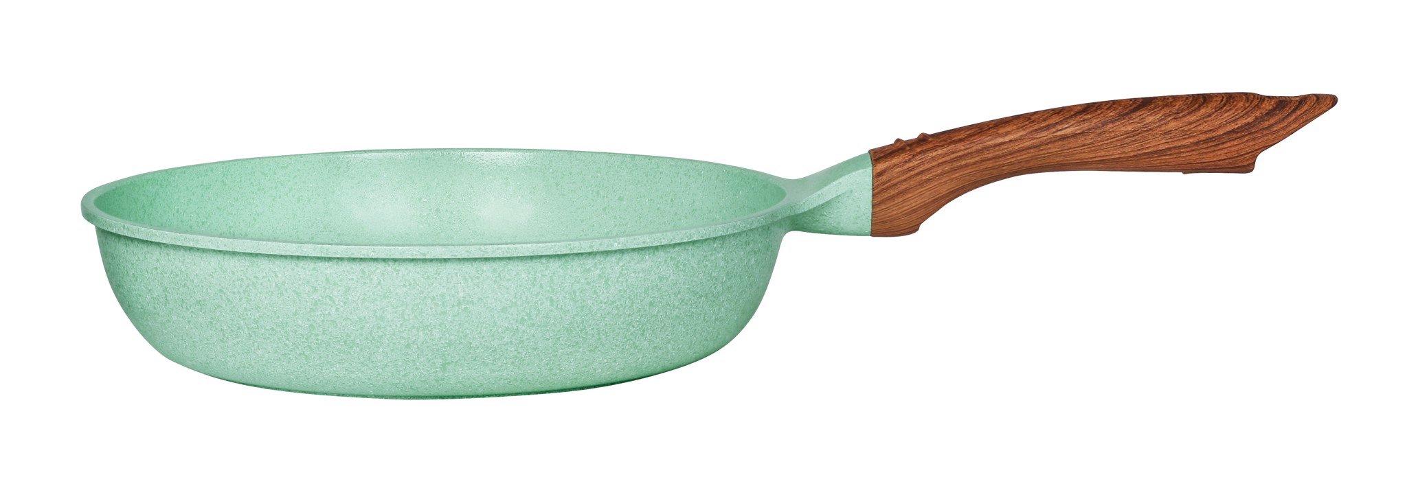 Chảo đúc đáy từ chống dính men đá ceramic xanh ngọc Green Cook GCP06 size 20-24-26-28 cm