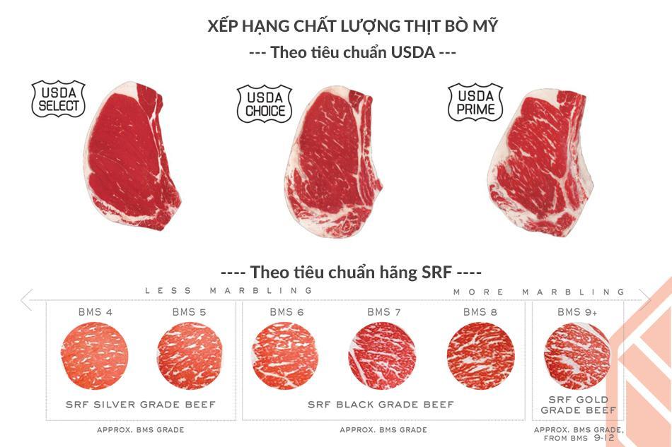 Phân loại chất lượng thịt bò Mỹ Black Angus theo hệ thống USDA