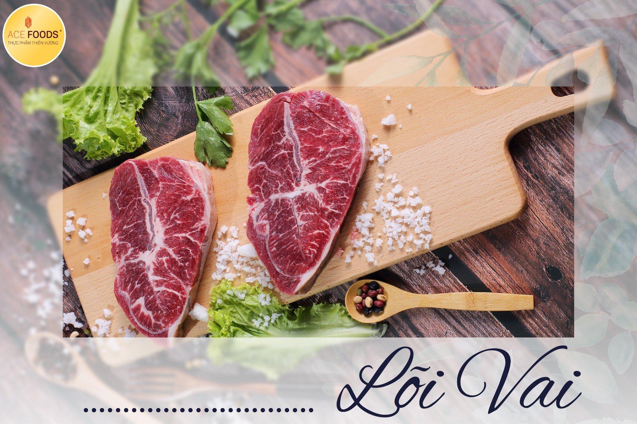 Lõi vai bò Mỹ mềm bởi nhiều vân mỡ, lớp gân ở giữa tạo độ giòn cho miếng thịt