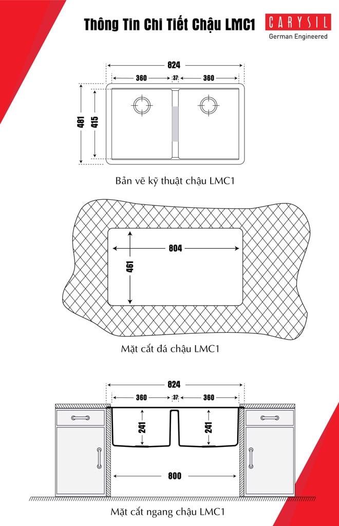 bộ xả Chậu Rửa Chén Đá Granite Carysil LMC1