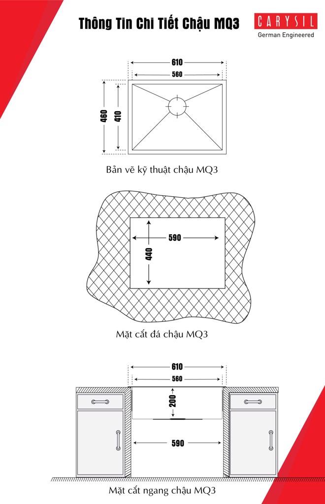 chậu iđơn nox304 Carysil IA-MQ3