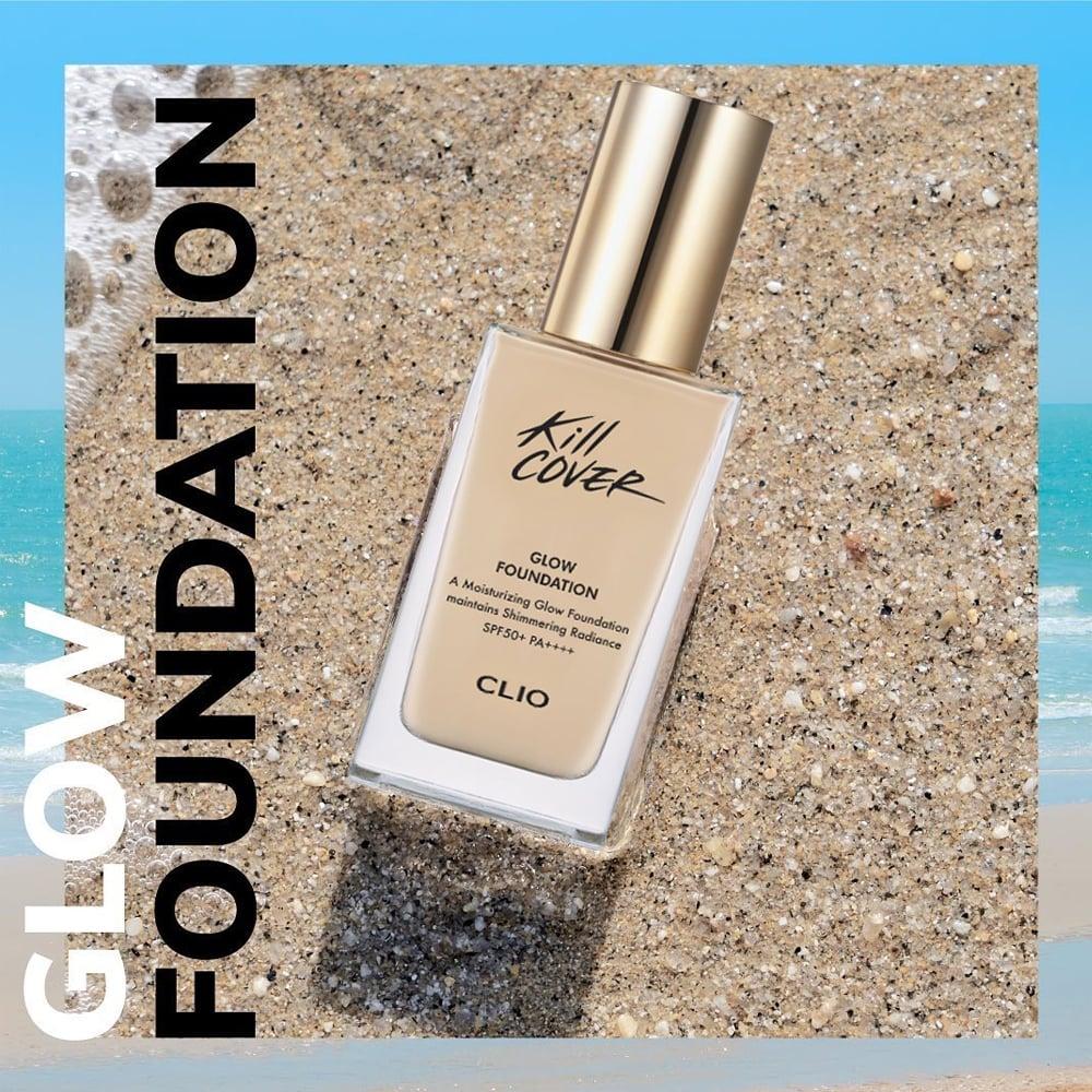 Swatch kem nền Clio Kill Cover Glow Foundation Beauty Box