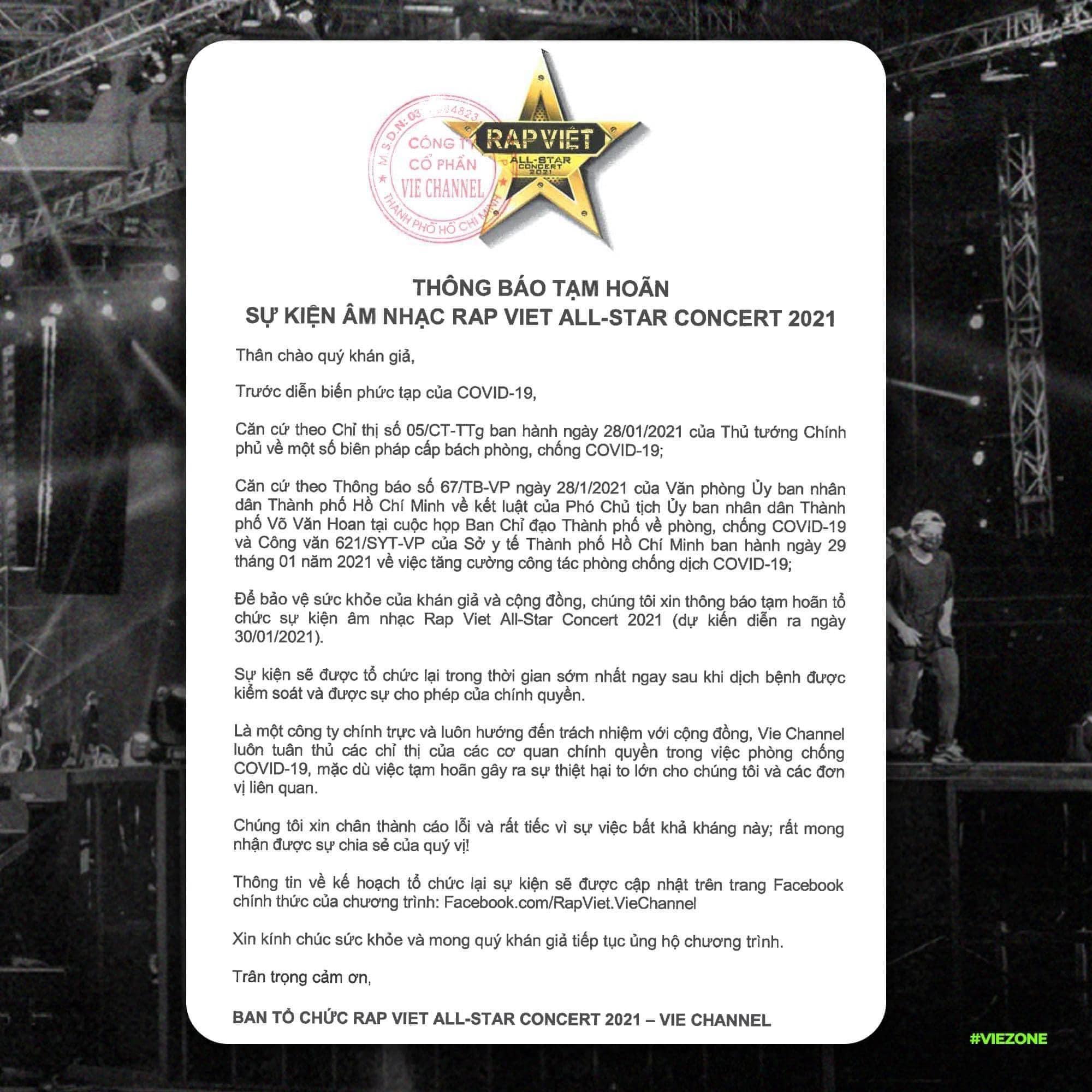 Thông báo tạm hoãn sự kiện âm nhạc RAP VIỆT ALL-STAR CONCERT 2021