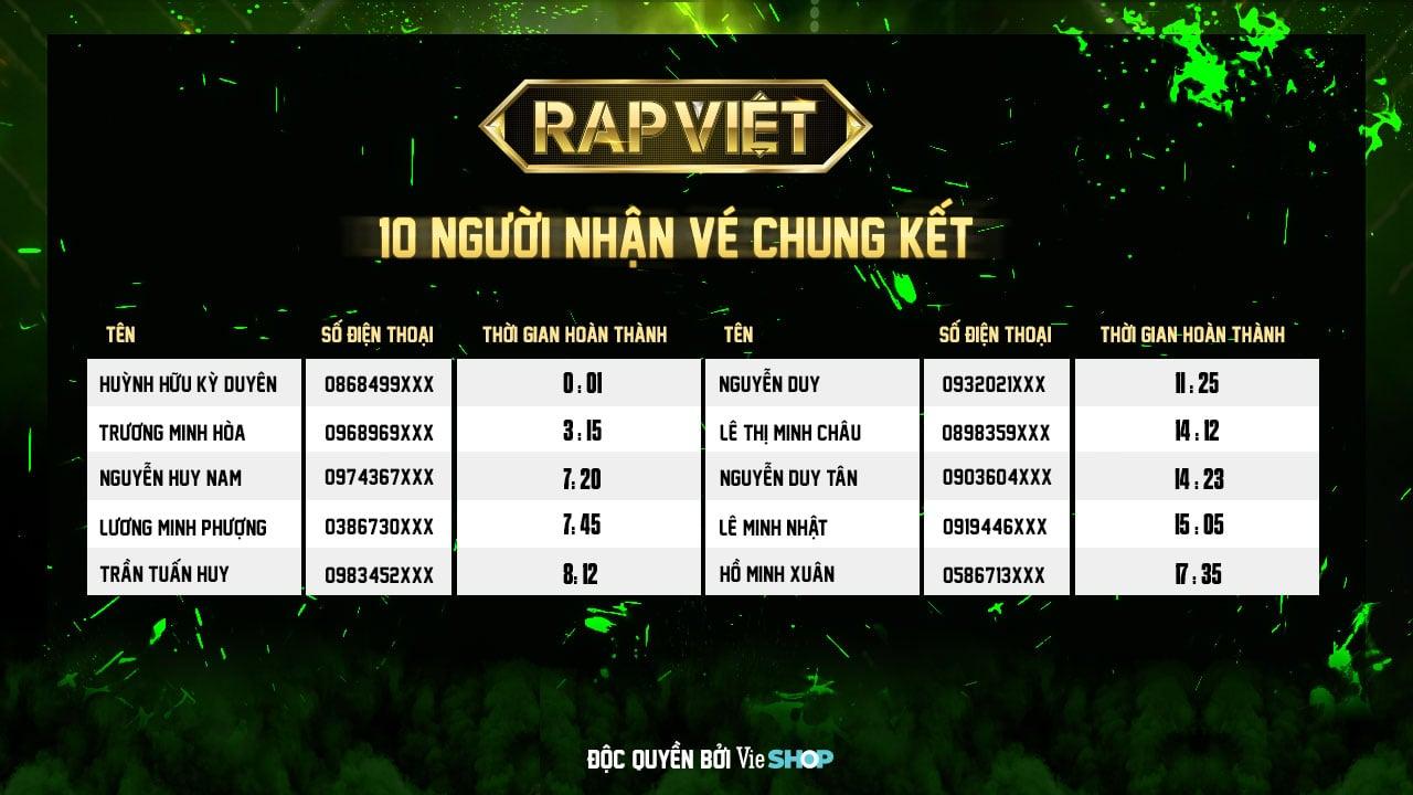 Mua Bộ sưu tập Rap Việt - Cơ Hội nhận vé Chung kết Rap Việt 2020 siêu hot