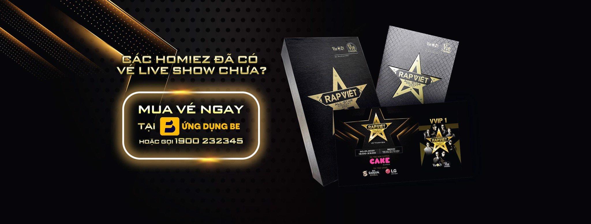 Vé Live Concert RAP VIỆT ALL-STAR 2021 được phân phối độc quyền trên ứng dụng BE