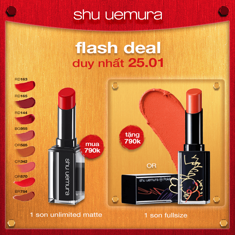 FLASH DEAL 2: mua son rouge unlimited matte tặng son pikashu
