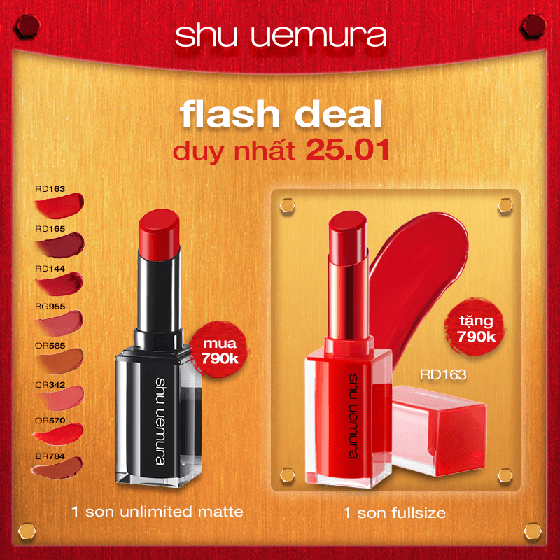 FLASH DEAL 3: mua son rouge unlimited matte tặng son flaming red rd163