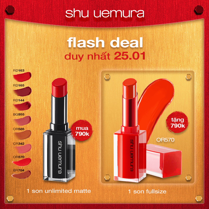 FLASH DEAL 4: mua son rouge unlimited matte tặng son flaming red or 570