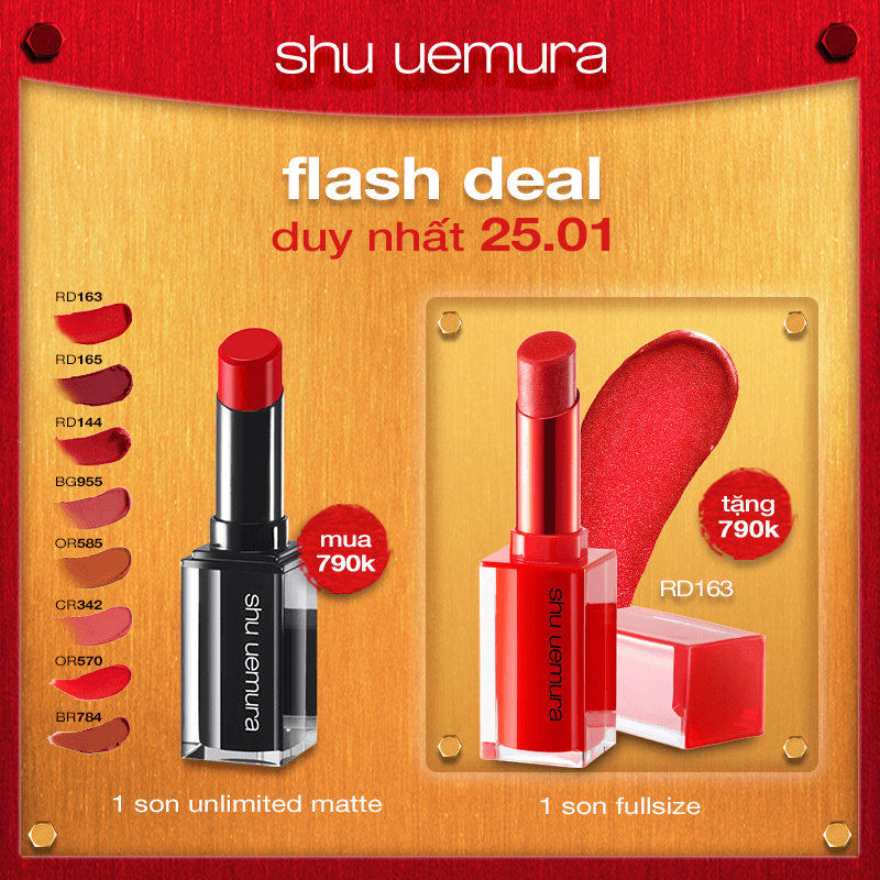 FLASH DEAL 5: mua son rouge unlimited matte tặng son lacquer shine holo
