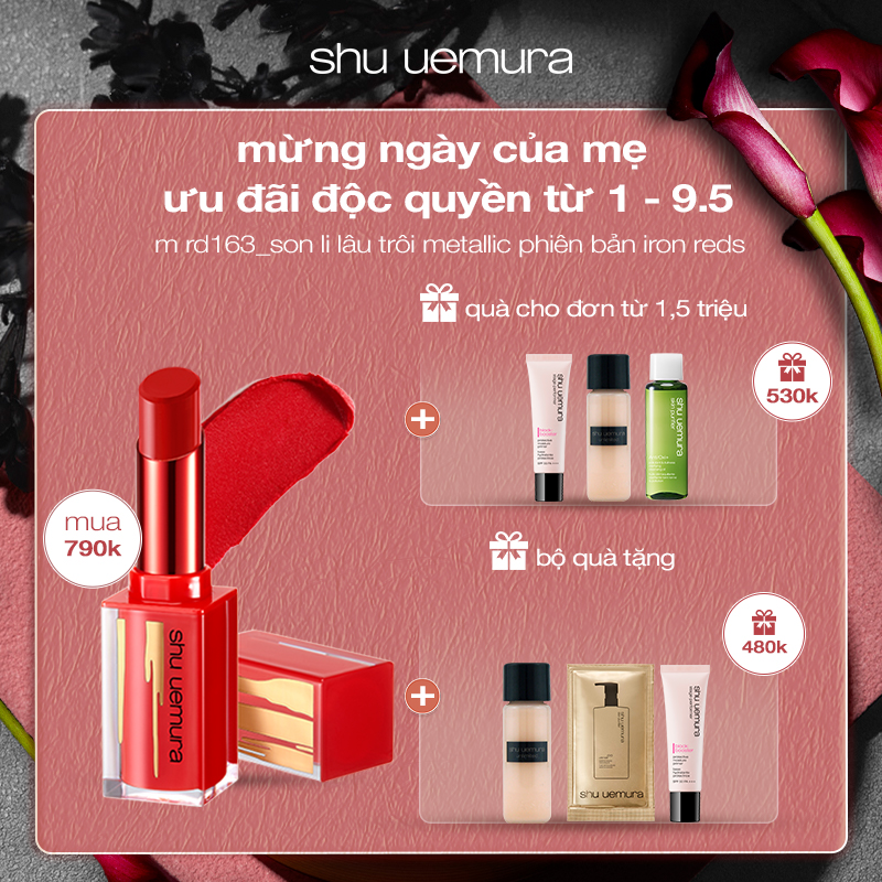 set son lì metallic shu uemura iron reds rouge unlimited matte lipstick