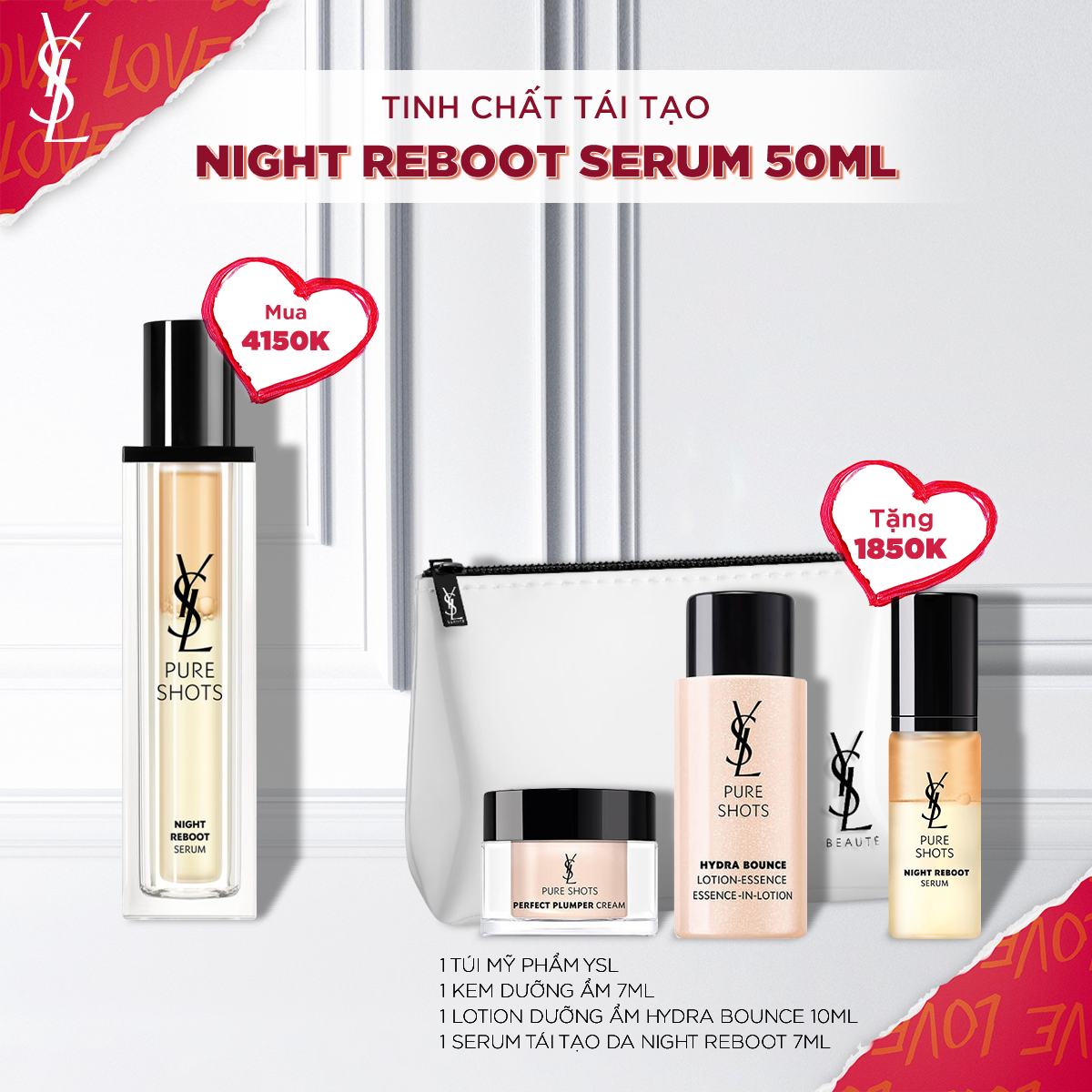 Set Tinh Chất Pure Shots Night Reboot Serum 50ml