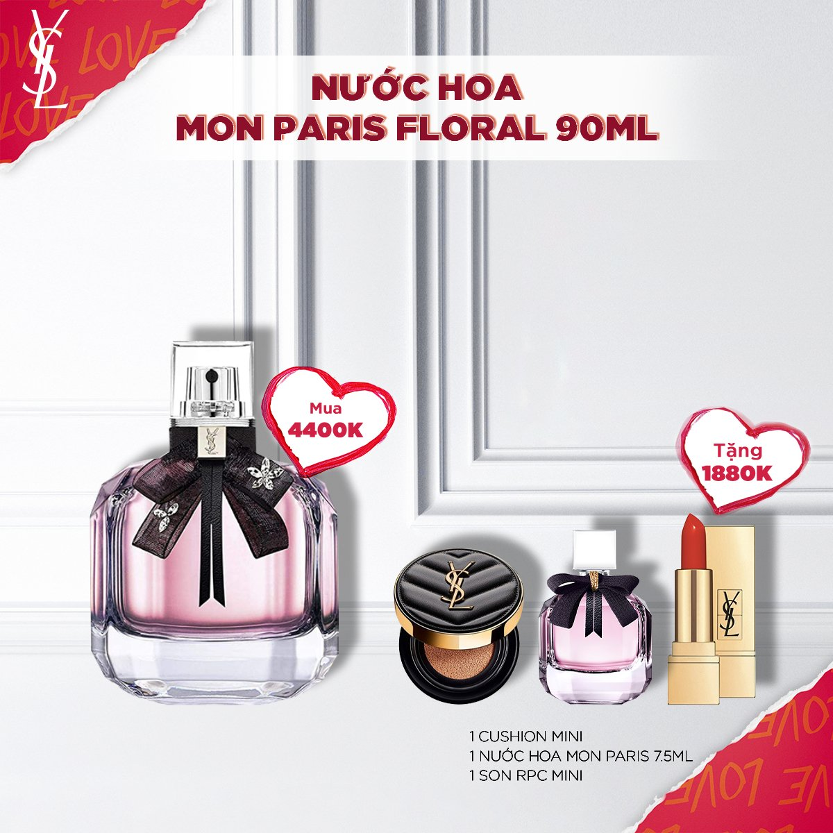 Set Nước hoa Mon Paris Floral 90ml
