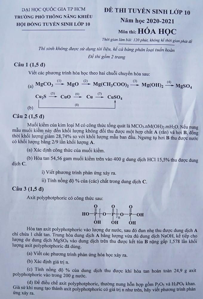 Đề thi vào lớp 10 chuyên Hóa THPT Năng khiếu TP.HCM năm 2020