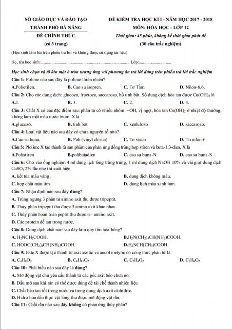 Giải chi tiết toàn bộ đề thi học kì 1 môn hóa lớp 12 thành phố Đà Nẵng